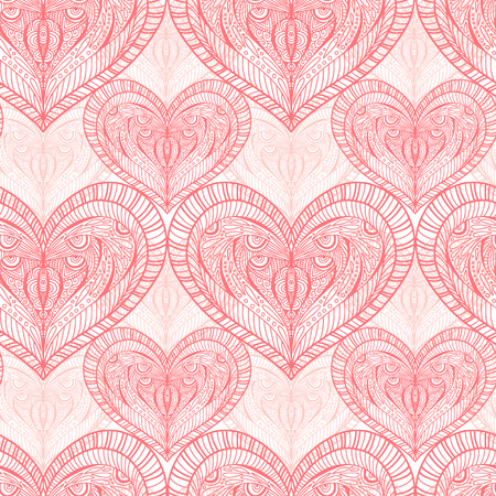 Hearts seamless background. Pattern for textile design. Vintage ornate seamless pattern. Baby girl fabric print