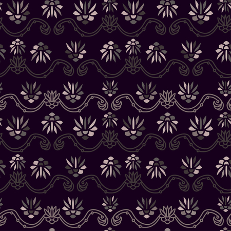 Vintage seamless background. Pattern for textile print design. Dark seamless pattern with vintage flowers