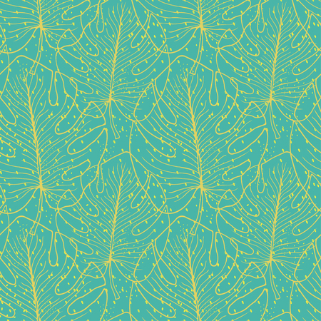 Tropical seamless pattern with monstera leaves. Textile print design. Green tropical pattern