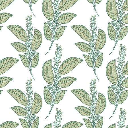 Green branches seamless background. Pattern print textile design. Floral seamless pattern with leaves Ilustração