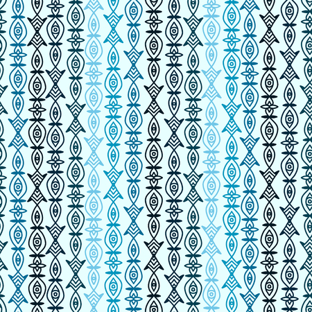 Tribal seamless background. Pattern for textile print design. Blue seamless pattern with ethnic stripes