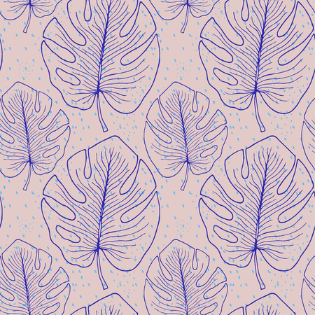 Tropical seamless pattern with monstera leaves. Textile print design. Bohemian mostera wallpaper pattern