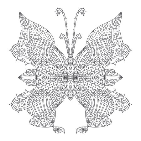 Butterfly coloring page. Tattoo art design. Coloring book illustration for adult and kids