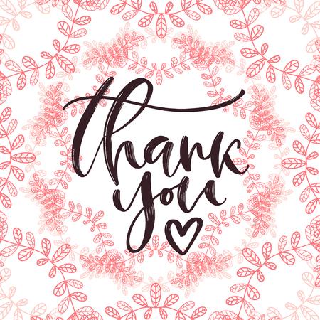 Thank you handwritten card. Printable calligraphy template. Calligraphic vector illustration. Thanks banner design. Ilustração