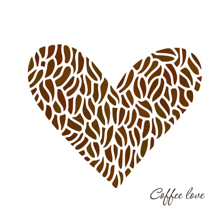 Vector heart of coffee beans. Coffee print design