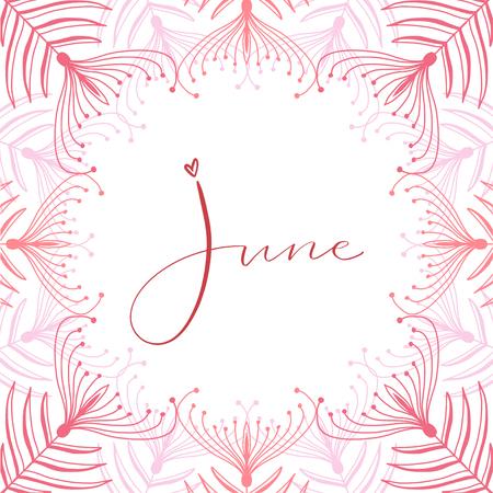 June calligraphy icon. Typographic print design. Calligraphic printable vector