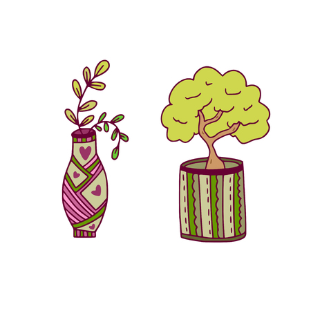 Houseplant vector icons. Floral print design. Nature stickers with bonsai and branch in vase