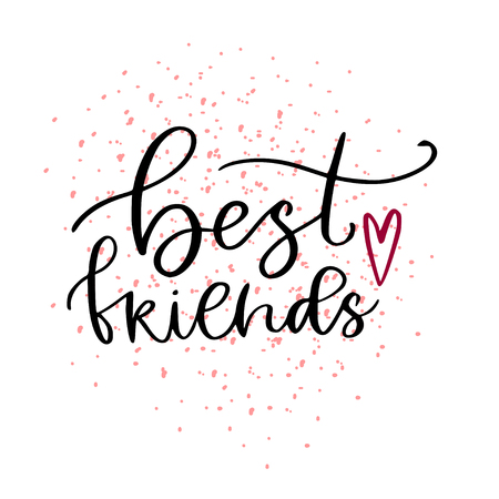 Best friend print. Typographic poster design. Printable calligraphic greeting card