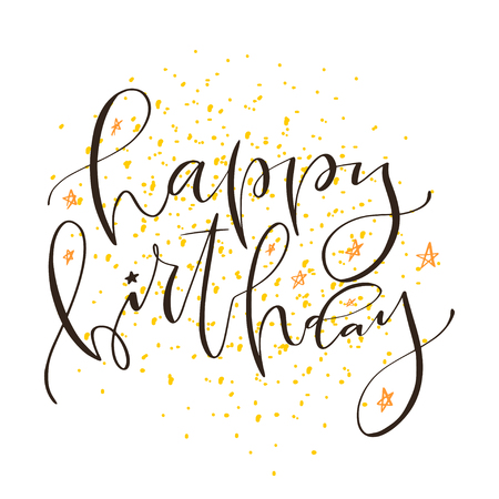 Handwritten modern calligraphy of Happy Birthday. Typography print design. Greeting card for birthday party decoration