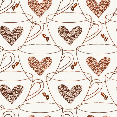 Coffee cups seamless pattern. Coffee bean hearts printable background. Ilustração