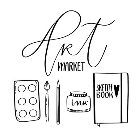 Art supplies for drawing. Sketches vector with palette, sketchbook and brush. Art market concept. Kids coloring page