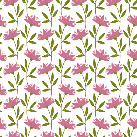 Seamless flower pattern. Floral background for textile, wall paper, gift wrapping. Folk print with pink flowers
