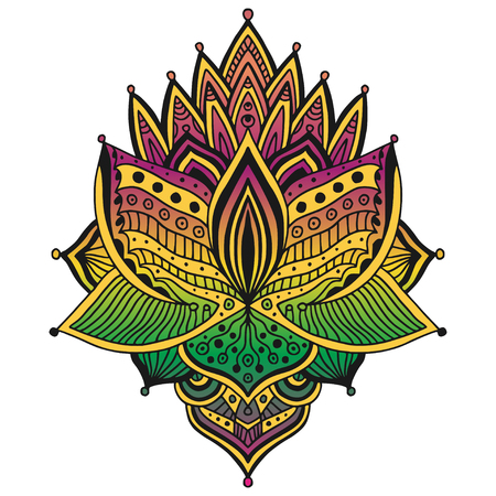 Colorful Tattoo design. T-shirt ornamental pattern. Temporary tattoo print with floral ornament