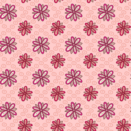 Floral seamless pattern. Simple flower Textile design. Pattern with pink flowers 向量圖像