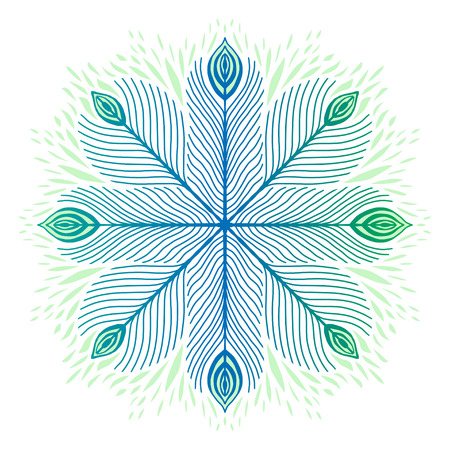 Ornamental mandala with peacock feathers. Fashion textile design. Feather ornament print. Green and blue colors. Fashionable mandala print