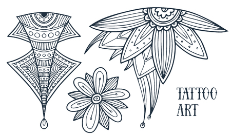 Flower oriental ornament for tattoo design. Decoration in ethnic style. Adult coloring book. Temporary tattoo print