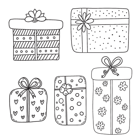 Gift boxes collection. Presents isolated on white. Greeting card decoration for Birthday. Coloring book page. Christmas gift box decorations.