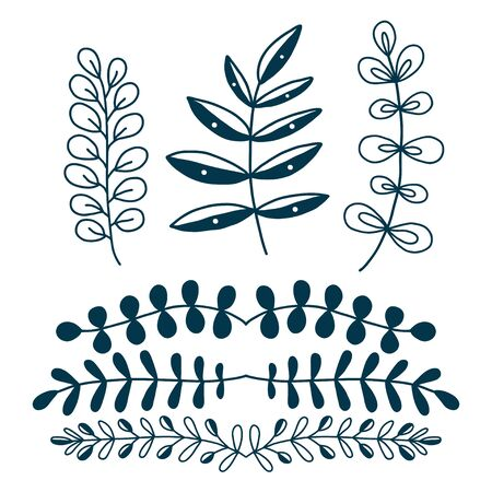 Decorative branches and leaves. Vector nature decorations. Leaves border elements. Decorative wall stickers