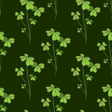 Shamrock seamless pattern. Nature textile design. Vector shamrock print in green colors. Çizim