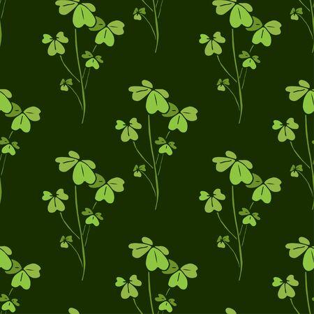 Shamrock seamless pattern. Nature textile design. Vector shamrock print in green colors. Ilustrace
