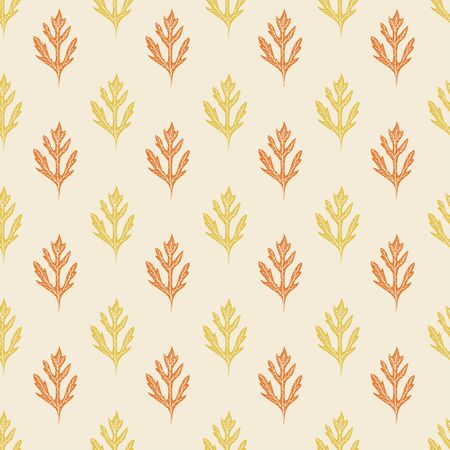 Autumn leaves pattern in orange and yellow colors. Simple background design. Nature seamless pattern. Falling leaves print for decoration and textile.