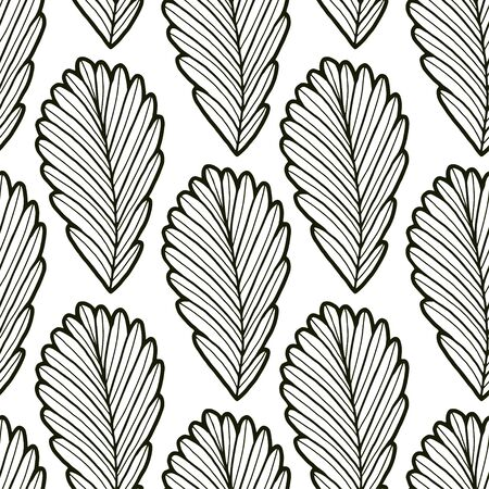 Outline leaves seamless background. Autumn pattern design. Leaves seamless pattern