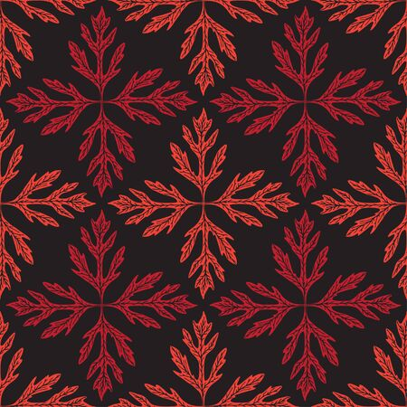 Abstract leaves seamless pattern. Nature background with floral tiles. Geometric vector pattern. Red print for wrapping, textile, wallpaper design. Stock fotó - 129794262