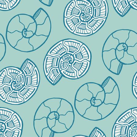 Turquoise shells seamless pattern. Background with spiral ornament. Seashells pattern for textile design. Wallpaper print.