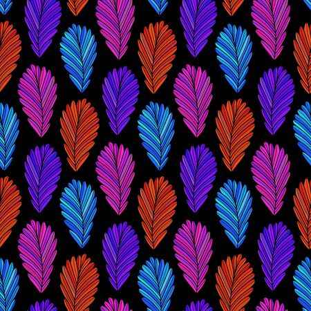 Autumn leaves background. Vector pattern design in neon colors. Leaves seamless pattern. Autumn textile design.