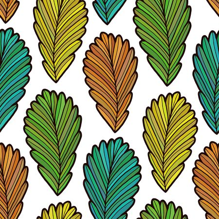 Autumn leaves repeating pattern. Colorful fall leaves design. Autumn seamless pattern. Background in green turquoise orange and yellow colors.