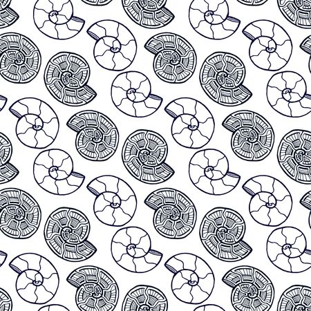 Shells seamless pattern. Background with spiral ornament. Seashells pattern for textile design. Coloring book page.