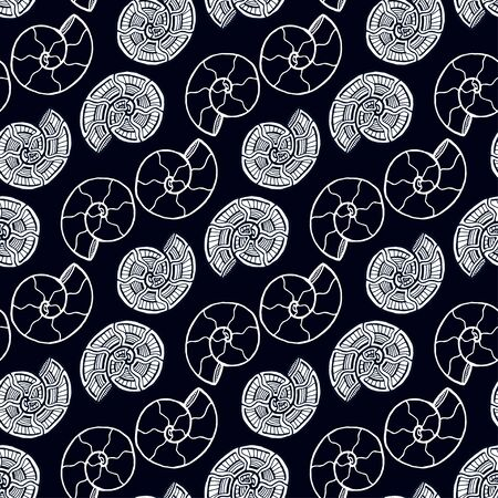 Black and white hells seamless pattern. Background with spiral ornament. Seashells pattern for textile design. Wallpaper print.