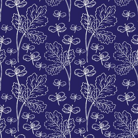 Nature seamless pattern. Vector textile or wrapping paper design. Nature background with botanical ornament.