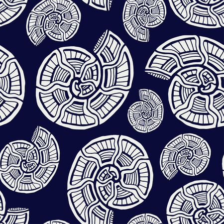 Sea shells seamless pattern. Background with spiral ornament. Seashells pattern for textile design. Wallpaper print.