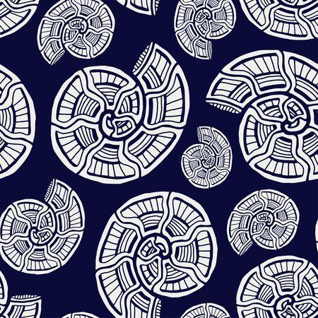 Sea shells seamless pattern. Background with spiral ornament. Seashells pattern for textile design. Wallpaper print. Stock fotó - 129794273