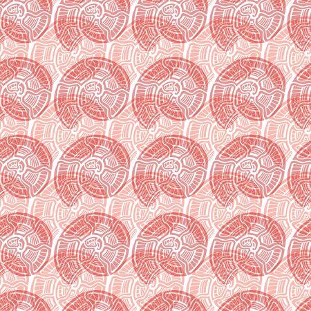 Shells seamless pattern. Nautical background in peach colors. Seashells pattern design.