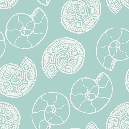 Seashells seamless pattern. Nautical background in pastel color. Seashells pattern for kids textile fabric design. Stock fotó - 129794272