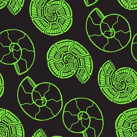 Green shells seamless pattern. Nautical background in neon color. Seashells pattern for textile design Stock fotó - 129794275