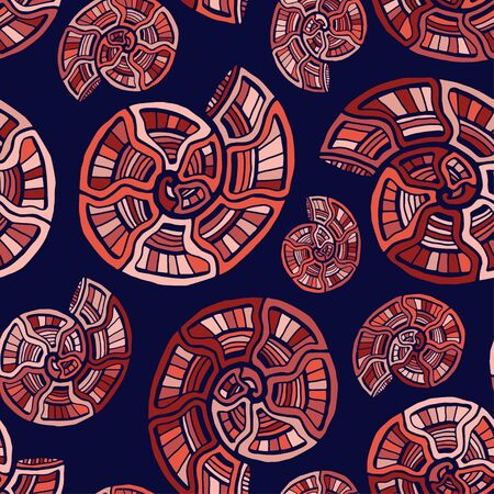 Spiral shells seamless pattern. Nautical background in red colors. Seashells pattern for textile design. Ammonite wallpaper print.
