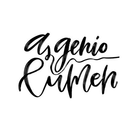 Frase latina. Impresión de caligrafía moderna. Diseño de cartel tipográfico. Letras de tatuajes de caligrafía. Un lumen genio.
