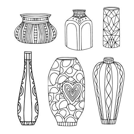 Insieme di vettore di vasi. Decorazione d'interni per la casa. Vasi sagomati moderni. Illustrazioni grafiche vettoriali. Isolato su sfondo bianco. Vettoriali