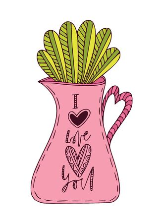 Plant in jug with I Love You calligraphy. Cute vector print. Interior sticker illustration. Greeting card nature design.