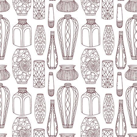 Vases seamless pattern. Pottery background with linear vases Ilustrace