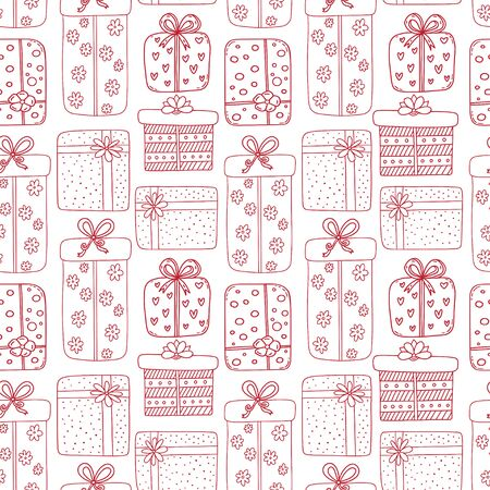 Gifts seamless pattern in line art style. Birthday, new year or valentine background. Holiday pattern with gift boxes. Wrapping paper design in red color