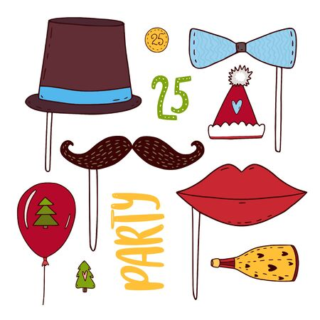 Set of party photo booth props vector elements. Moustache, bow, hat, lips, champagne and ball