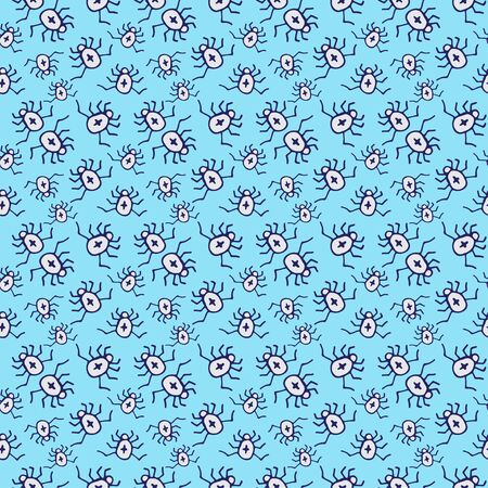 Beetle pattern design. Insects seamless background. Textile pattern or wrapping paper. Simple spiders texture in blue color