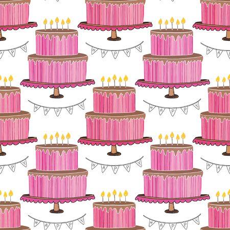 Wedding or birthday cake pattern. Invitation vector background. Cakes seamless pattern for holidays decoration Çizim