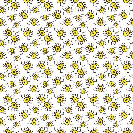Spiders pattern design. Beetle seamless background. Textile pattern or wrapping paper. Simple insects texture