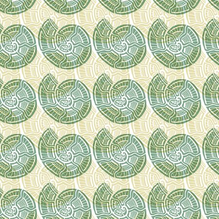 Shells seamless pattern. Nautical background in green colors. Seashells pattern for textile design