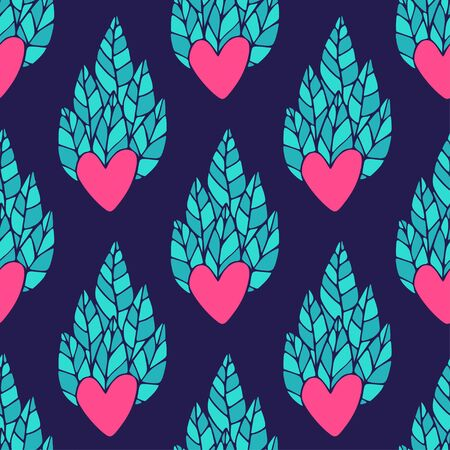 Hearts seamless pattern . Valentines day wrapping pattern with ornamental hearts. Vector print with leaves for textile design